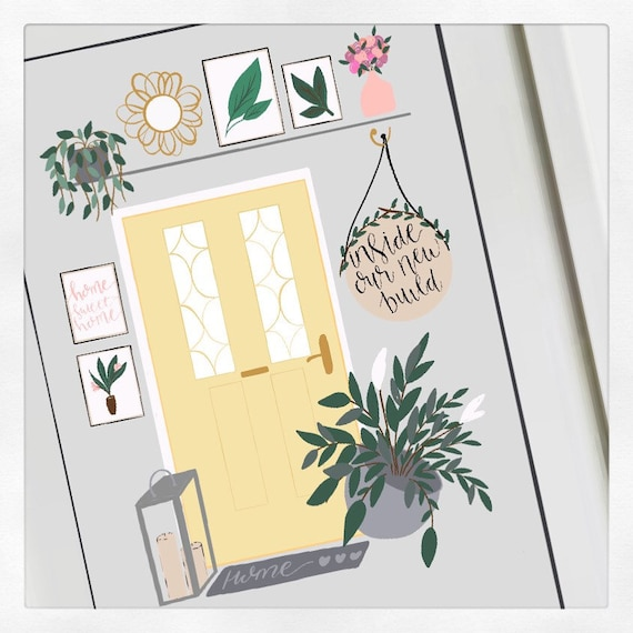 Personalised front door print, door, illustration, unique, a4, house, home.