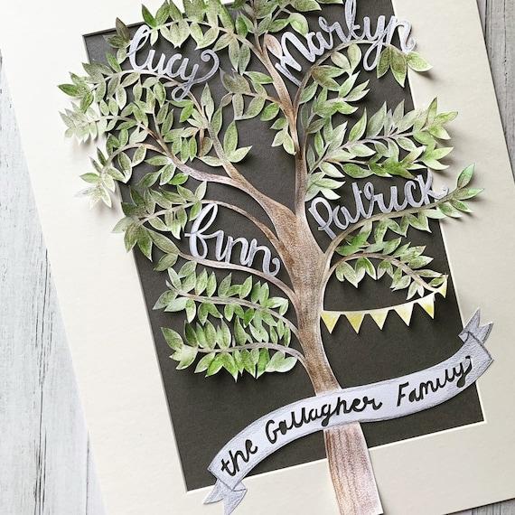 Family tree paper cut.