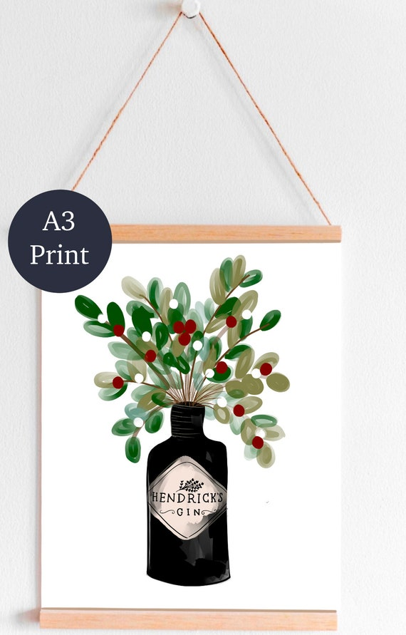 A3 Gin, flowers, print, quirky, kitchen, bottle, gift, hendrick, christmas