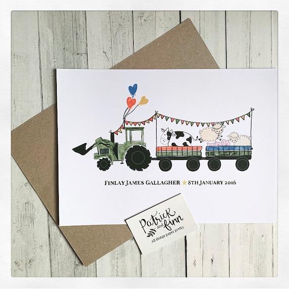 Tractor, farm animals, digital print a4 boys room, gift.