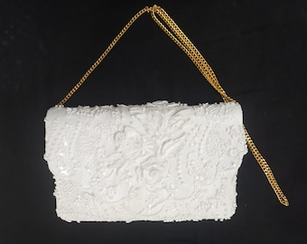 Custom for Lindsay: Lacy Rose Bridal Clutch, Pretty Ivory Beaded Wedding Bag, White Rose Lace Purse, Bead Lace Bride Bag, Bridal Shower Gift