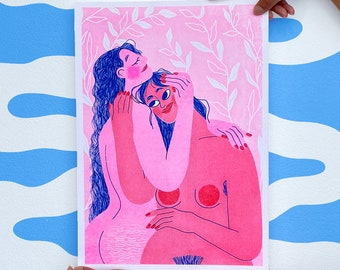 Limited Edition Riso Print // Colourful Empowering A3 Poster // Modern Living Room Wall Art // Kindness