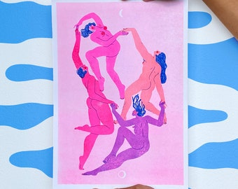 Limited Edition Riso Print // Colourful Empowering A3 Poster // Modern Living Room Wall Art // Dance