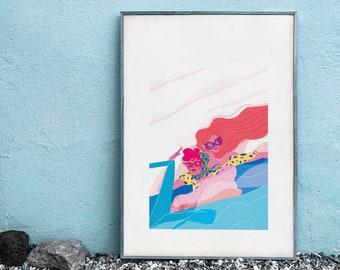 Thelma & Louise Movie Fanart // Colourful A3 Digital Print // Modern Living Room Wall Art