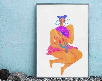 Colorful Digital Print // Bright A3 Print Poster // Modern Living Room Wall Art // Lady With The Fan