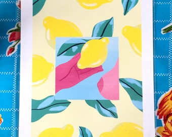 Colourful Print // Bright A4 Print Poster // Modern Living Room Wall Art // Lemon Squeeze