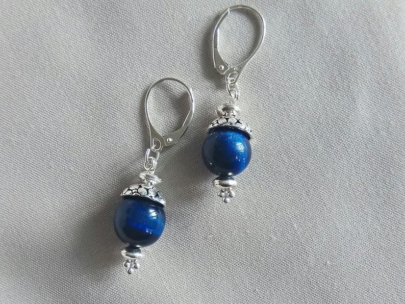 925 Silver Dark Blue Earrings with Blue Cateye Pearl