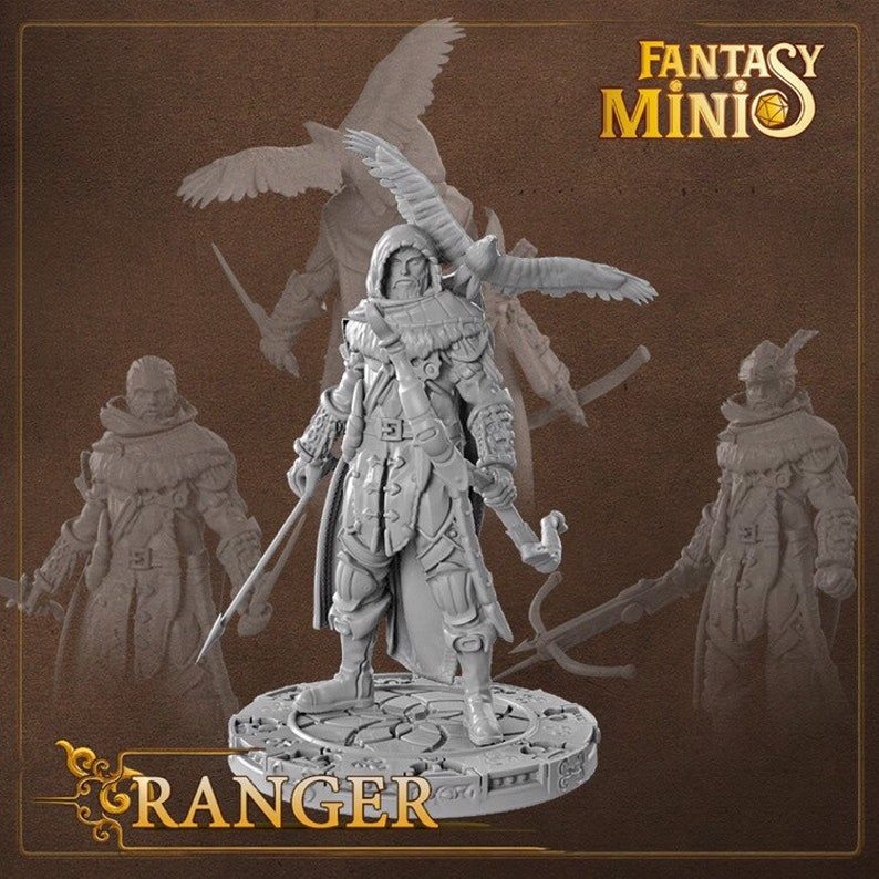 28mm Ranger miniature for tabletop RPG (D&D, DnD, Dungeons and Dragons,  Pathfinder, Frostgrave) by Fantasy Minis