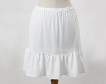 15a5e327ef0 Slip Extender Skirt with Tiered Ivory Crepe Ruffle Bottom (Style 954) Size  S-M-L