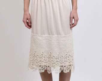 6028991999c Slip Extender Skirt with Crochet Lace Trim on Bottom (Style 38B) Size S-M-L