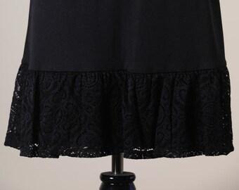 c77c6d53ec Slip Extender Skirt with Black Lace Trim on Bottom (Style#956A) Size S-M-L