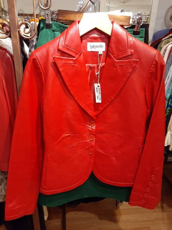 Vintage 1980s red leather Bagatelle jacket