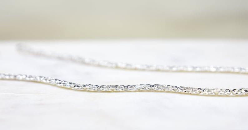 Necklace Gold Plated Polished Byzantine Necklace Sterling Silver Byzantine Chain Hand Woven |
