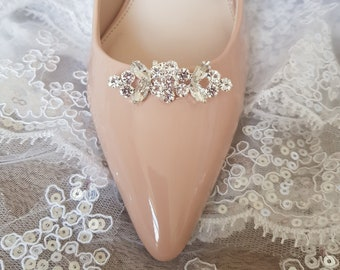 Wedding Bridal Gold Silver Rhinestone Crystal Vintage Style Shoe Clips Pair