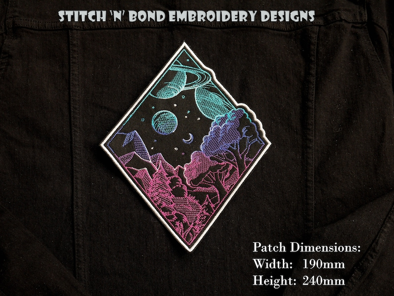 Sew on embroidered patch Space Landscape Iron on