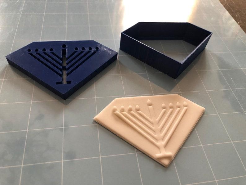 Diamond-Shaped Jewish Menorah Hanukkah Cookie Cutter 2pc SET w/Fondant  Embosser