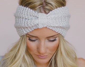 8933767be14 Cute Winter Textured Hand Knit Headband with Knot Women Ear Warmer.  LaBoutiQc. in Canada