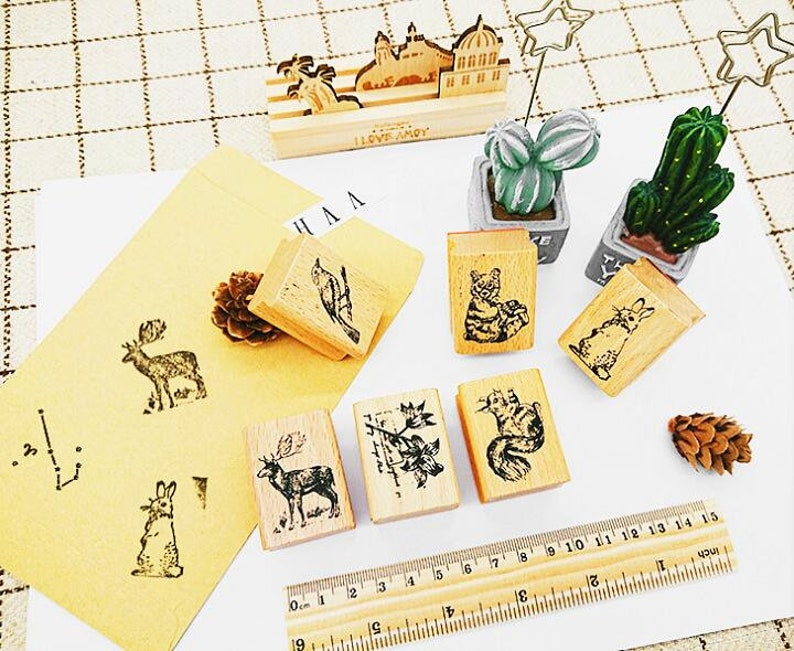 Natural Vintage Thank You Wooden Rubber Stamp Craft Wedding Party 4 Styles TY