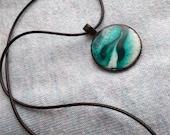 Resin, Resin Necklace, Resin Pendant, Resin Jewelry, Emerald, Green, Turquoise, Resin art, Ocean art, Beach art, Sea art, Gift for her