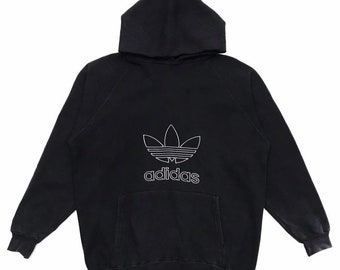 official photos ab26c 7a5bc Vintage 90s Adidas Trefoil Big Logo Embroidery Sweatshirt Hoodie Streetwear  Made In USA Size On Tag L