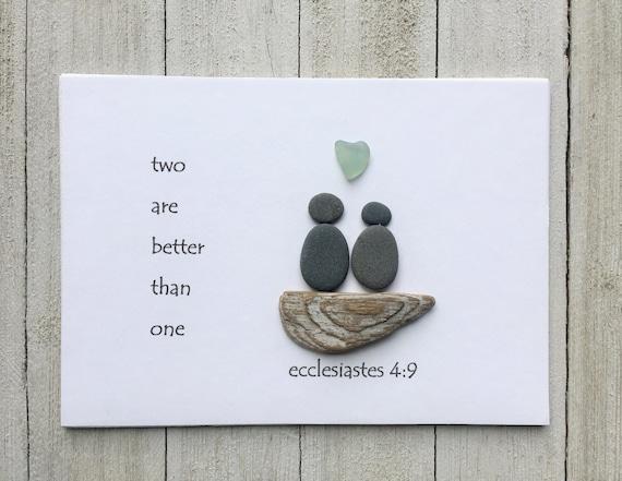 Pebble Art Couple Ornament \u2022 4x4 \u2022 handmade \u2022 one of a kind \u2022 ready to ship