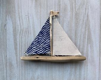 Driftwood sailboat, Sailboat, Rustic Sailboat. Nautical Decor