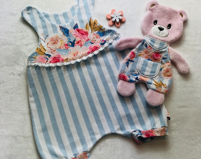 Featured listing image: Romper striped with flowers light blue, white, pink