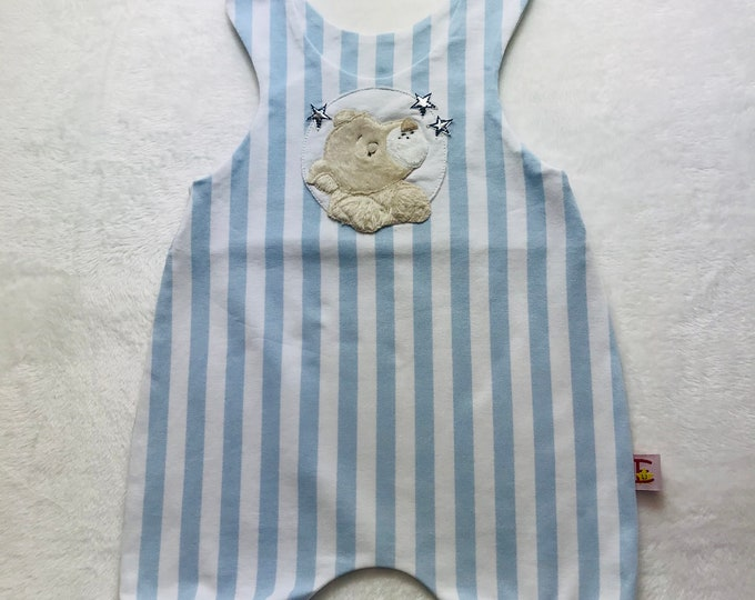 Featured listing image: Romper striped light blue/white with application lion baby
