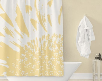 Sunflower Fabric Shower Curtain - Pale Yellow & White / Monochrome Large Scale Abstract Bathroom Art Print