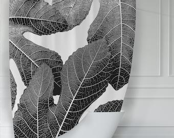 Modern Black and White Fig Leaves Botanical Shower Curtain for Sophisticated Botanical Bathroom