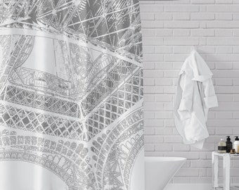 Eiffel Tower / Architectural Perspecitve - Gray on White Shower Curtain for Paris / France / Euro Mod Bathroom