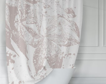 Gray and White Japanese Maple Leaves in the Rain Shower Curtain