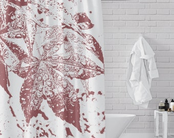 Red Maple Leaves in the Rain Shower Curtain