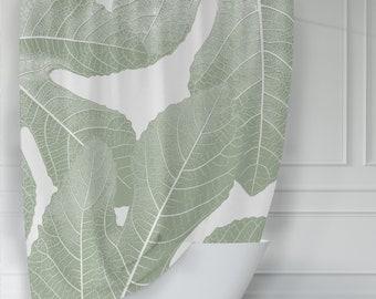 Modern Fig Leaves Botanical Shower Curtain, Olive Green & White for Mediterranean Country Bathroom