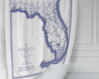 Vintage Map of Florida Blue & White Shower Curtain