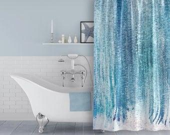 Aqua Blue / Turquoise Watercolor Fabric Shower Curtain for Modern Beach Bathroom