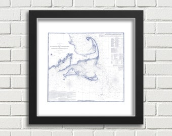 Cape Cod, Martha's Vineyard and Nantucket USGS Remastered Map Art, Blue & White - Instant Digital Download / Printable