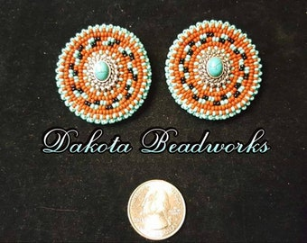 Native American beaded Earrings made by Thomas Harvey enrolled member of the Ft. Peck tribe from Montana