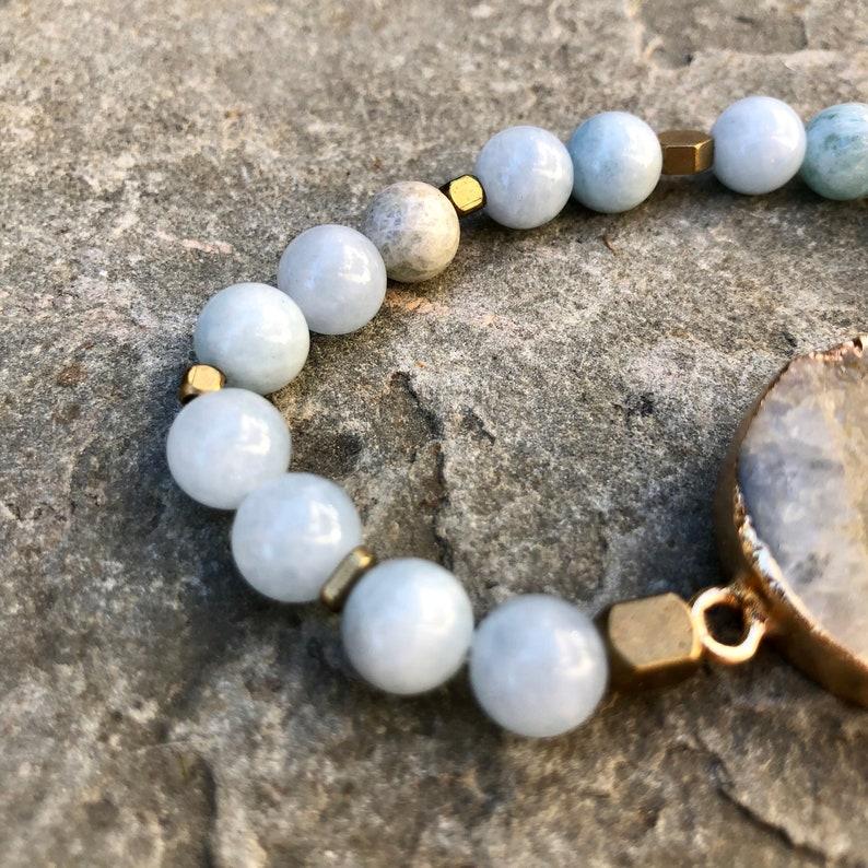 Aquamarine Birthstone  Bracelet Healing Bracelet Beaded Stretch Bracelet Aquamarine Druzy Beaded Bracelet