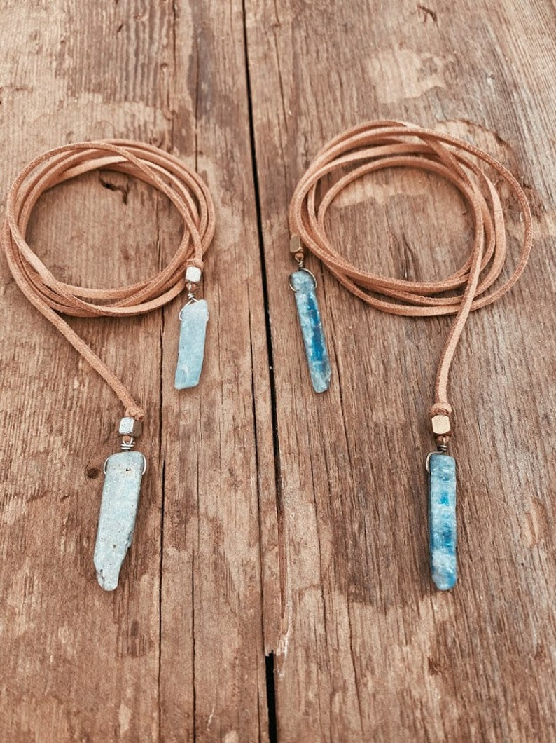 Boho Lariat Necklace Kyanite Necklace Leather Lariat Necklace 40th Birthday Gifts For Women