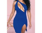 Sexy women 39 s fashion hollow out one shoulder slim dress - Red Dark Blue Resort