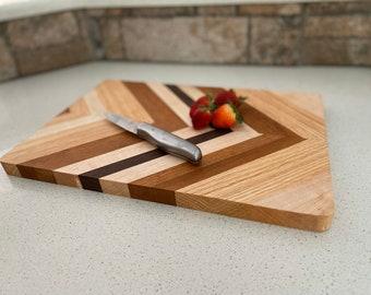 Herringbone Hardwood cutting board / housewarming gift / Unique / Handmade