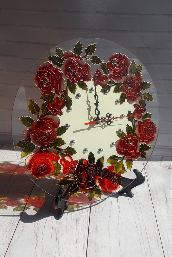 Red Rose Wall Clock 126 In 32 Cm Hand Painted Round Clock Etsy