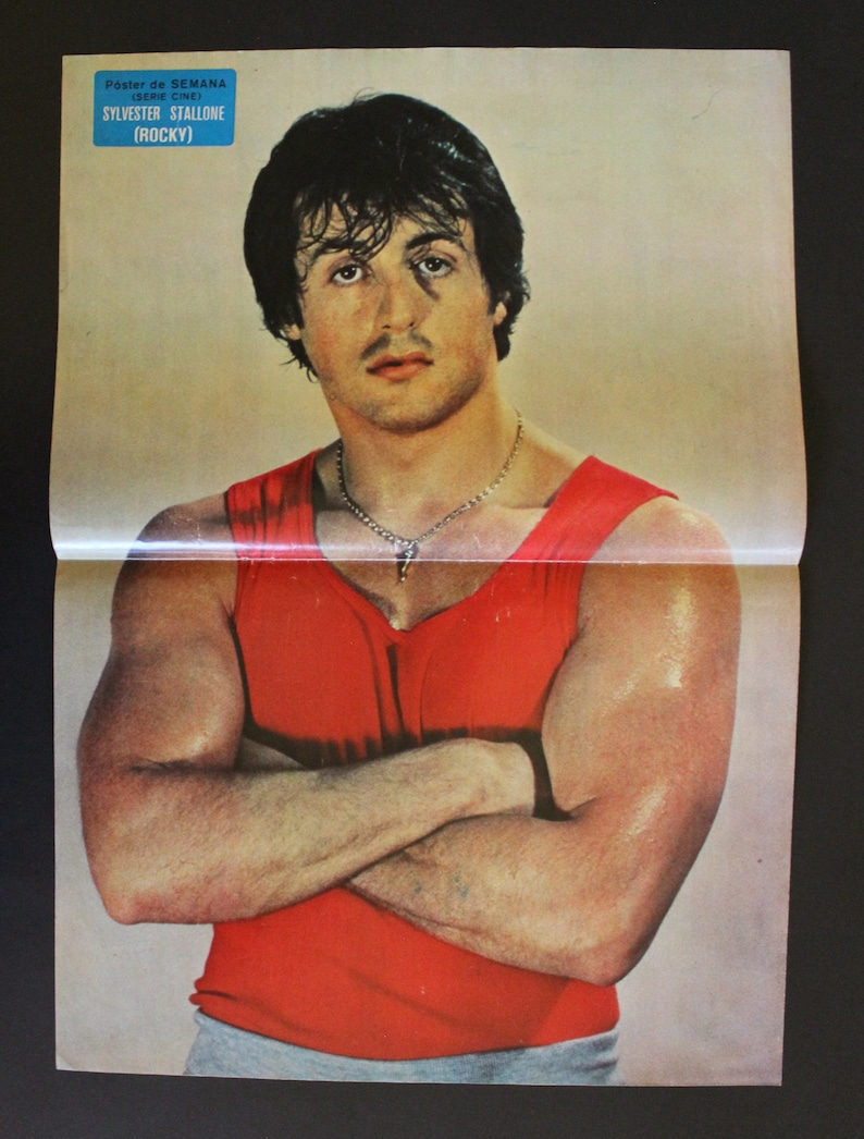 approx. 1970/'s Lecturas SYLVESTER STALLONE Spanish vintage poster 47 x 33 cm ROCKY