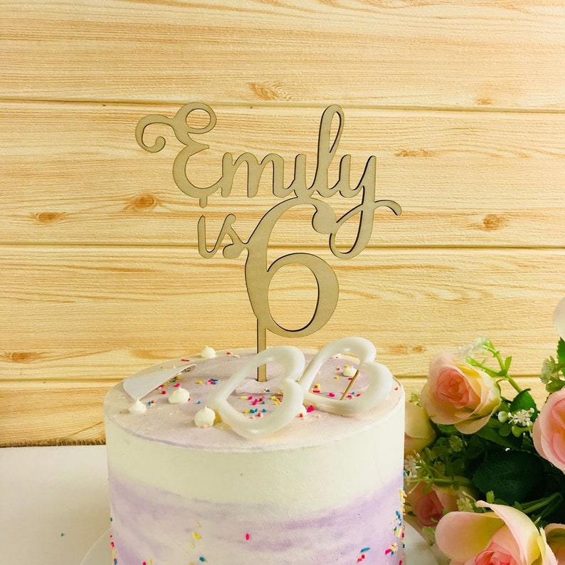 Personalized Happy Birthday Cake Topper Color Gradient Unique Birthday Party Decorations