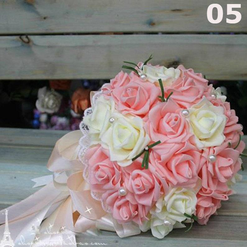 Silk Ribbon Bouquet Wedding Brooch Bouquet Wedding Ribbon Bridal Bouquet| Green Silk Ribbon | Brown Ribbon Artificial Bouquet