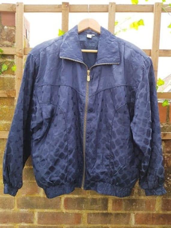 Vintage 90's blue silk jacquard unisex bomber jack