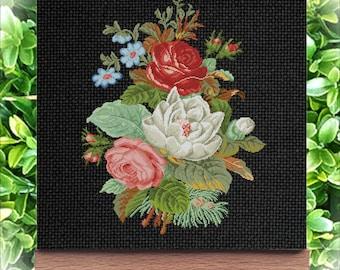Vintage cross stitch Bouquet of flowers- Embroidery cross stitch flowers Download cross stitch bouquet Electronic schemes embroidery flowers