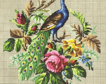 Vintage Peacock embroidery diagrams 3, Berlin wool work, The scheme of embroidery birds, antique cross Stitch  Peacock, flower cross stitch