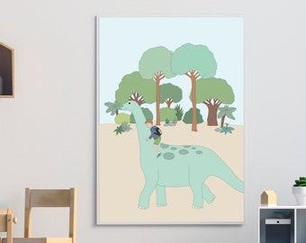 Dinosaur poster A2, illustration, birth gift, poster illustrated child's room, child gift